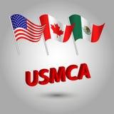 Ensemble de vecteur de drapeaux américains, canadiens et mexicains de ondulation sur le poteau argenté - icône des états - les Et illustration de vecteur