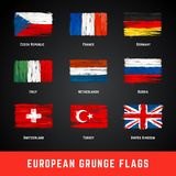 Ensemble de vecteur de drapeaux de grunge Image stock