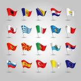 Ensemble de vecteur de drapeaux de ondulation Europe du Sud sur le poteau argenté - icône des états illustration stock