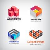 Ensemble de vecteur du cube 3d, logos de structure géométrique Le bâtiment, architecture, bloque les icônes colorées Photographie stock libre de droits