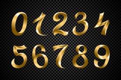 Ensemble de vecteur de fête de chiffres de ruban d'or dessin géométrique de nombre iridescent d'or de gradient sur le fond noir illustration libre de droits