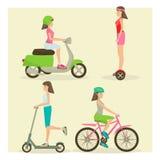 Ensemble de vecteur de filles montant des symboles plats de transport par moderne rue illustration de vecteur