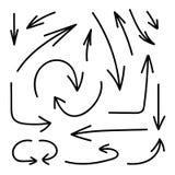 Ensemble de vecteur de flèches tirées par la main, lignes noires d'isolement sur le fond blanc, collection d'éléments illustration libre de droits