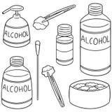 Ensemble de vecteur de forcep, d'alcool et de coton stérile illustration libre de droits