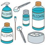 Ensemble de vecteur de forcep, d'alcool et de coton stérile illustration stock