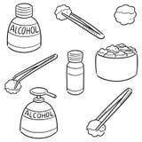 Ensemble de vecteur de forceps, d'alcool et de coton stérile illustration libre de droits