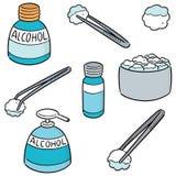Ensemble de vecteur de forceps, d'alcool et de coton stérile illustration stock