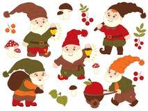 Ensemble de vecteur de Gnomes mignons de carton Images stock