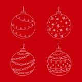 Ensemble de vecteur de jouet tiré par la main blanc de boule d'arbre de Noël Image libre de droits