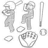 Ensemble de vecteur de joueur de baseball et d'équipement de base-ball Illustration Stock