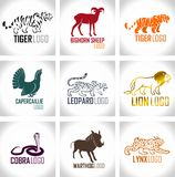 Ensemble de vecteur de labels d'emblèmes de logo d'animaux Photo stock