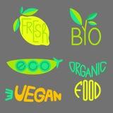 Ensemble de vecteur de labels et d'insignes de produits biologiques Images libres de droits