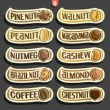 Ensemble de vecteur de labels Nuts Photographie stock