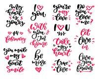 Ensemble de vecteur de lettrage de jour de Valentine s Images libres de droits