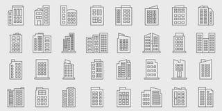 Ensemble de vecteur de Line Building Icons, Company illustration stock