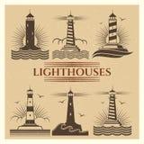 Ensemble de vecteur de logos de phares de vintage illustration stock