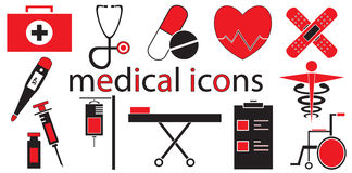 Ensemble de vecteur médical d'icônes Images stock
