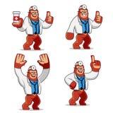 Ensemble de vecteur de mascotte de docteur Gorilla illustration stock