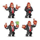 Ensemble de vecteur de mascotte de Gorilla d'homme d'affaires illustration stock