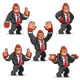 Ensemble de vecteur de mascotte de Gorilla d'homme d'affaires Photos libres de droits