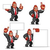 Ensemble de vecteur de mascotte de Gorilla d'homme d'affaires Image libre de droits