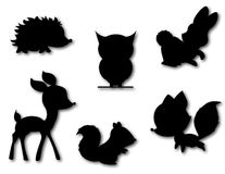 Ensemble de vecteur mignon de silhouette d'animlas Photos stock