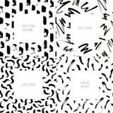 Ensemble de vecteur de milieux abstraits tirés par la main avec des courses de brosse et d'espace de copie pour le texte illustration libre de droits