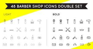 Ensemble de vecteur mince et audacieux Barber Shop Elements Images stock