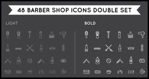 Ensemble de vecteur mince et audacieux Barber Shop Elements et de boutique de rasage Image libre de droits