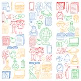 Ensemble de vecteur de nouveau à icônes d'école dans le style de griffonnage Peint, coloré, images sur un morceau de papier sur l illustration de vecteur