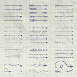 Ensemble de vecteur Pen Drawing Arrow Shaped Elements Images stock