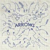 Ensemble de vecteur Pen Drawing Arrow Shaped Elements Photos libres de droits