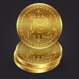 Ensemble de vecteur de pièces d'or de Bitcoin 3D réaliste Argent de devise de Digital Concept d'investissement Photographie stock