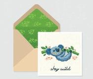 Ensemble de vecteur pour la conception Enveloppe et carte avec le koala mignon Images stock
