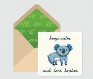 Ensemble de vecteur pour la conception Enveloppe et carte avec le koala mignon Photographie stock libre de droits