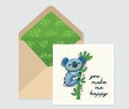 Ensemble de vecteur pour la conception Enveloppe et carte avec le koala mignon Photographie stock