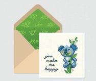 Ensemble de vecteur pour la conception Enveloppe et carte avec le koala mignon Image libre de droits