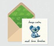 Ensemble de vecteur pour la conception Enveloppe et carte avec le koala mignon Photo stock