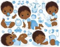 Ensemble de vecteur pour la douche de bébé garçon d'Afro-américain illustration stock