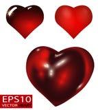 Ensemble de vecteur réaliste de coeurs de 3D Valentine Image stock