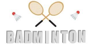 Ensemble de vecteur de raquette et de navettes de badminton Photos stock