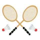 Ensemble de vecteur de raquettes et de navettes de badminton Images libres de droits