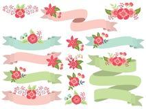 Ensemble de vecteur de rubans en pastel floraux illustration de vecteur