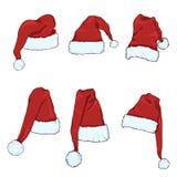 Ensemble de vecteur de Santa Claus Hats rouge illustration stock