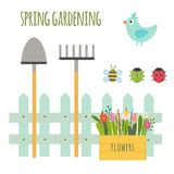 Ensemble de vecteur de scène de jardinage mignonne illustration de vecteur