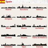 Ensemble de vecteur de silhouettes d'horizons des plus grandes villes de l'Espagne illustration de vecteur