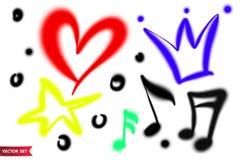Ensemble de vecteur de symboles tirés par la main d'aerographe Couronne de diverse couleur, coeur, étoile et feuilles de musique  illustration stock