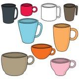 Ensemble de vecteur de tasse de boisson illustration stock