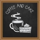 Ensemble de vecteur de tasses et de gâteau de café Photos stock