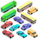 Ensemble de vecteur de transport urbain isométrique, voitures Photo libre de droits